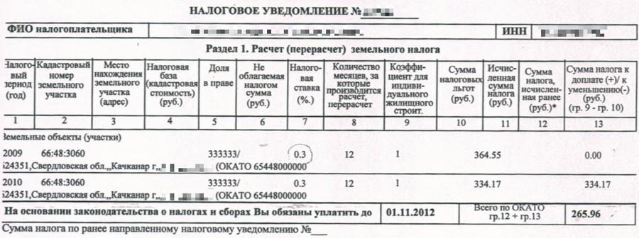 земельный налог в 2011 году